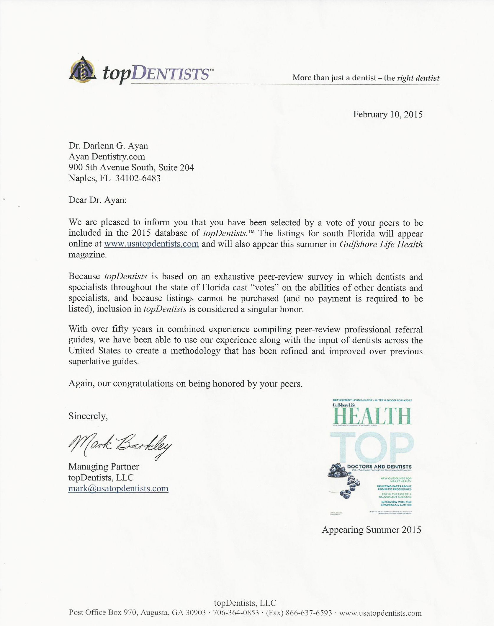 Image of letter awarding Dr. Ayan the Top Dentist Award for 2015